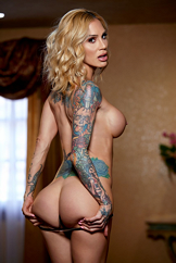 Tattooed Pretty Slim Long Legged Strip Babe Watch Sarah Jessie